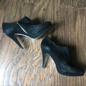 Jessica Simpson Suede Zipper Black Booties